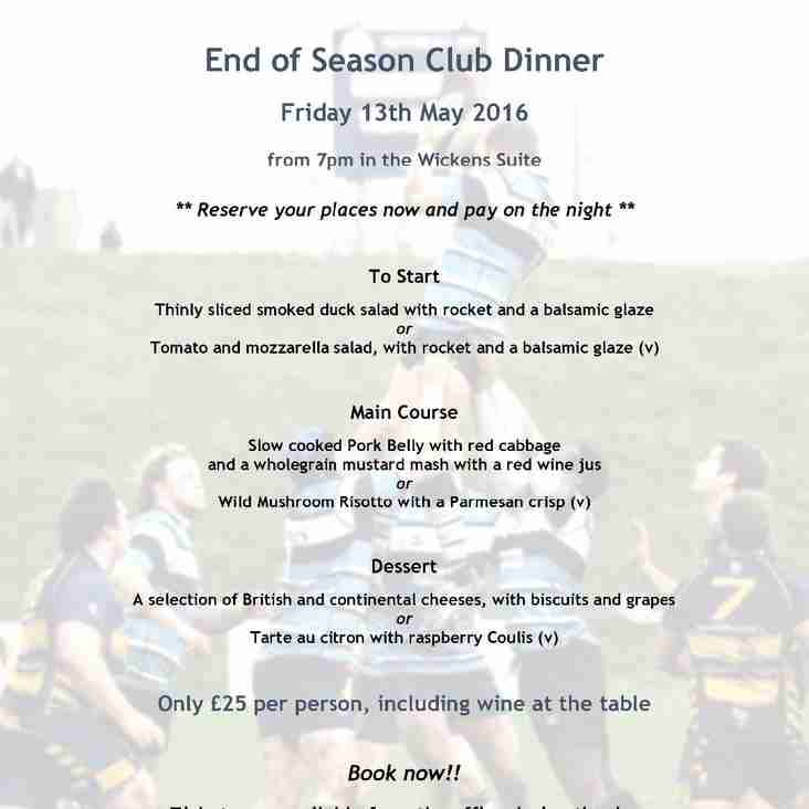 End of Season Dinner this Friday, 13 May