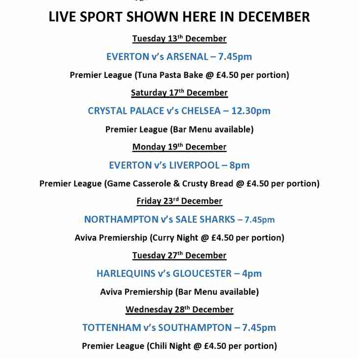 Live Sport showing at the Club in December