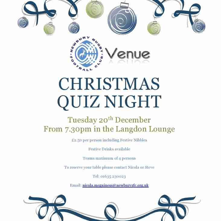 Christmas Quiz Night - Tues 20 December