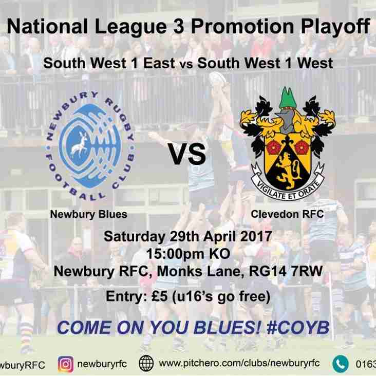 BLUES Promotion Play off - Sat. 29 April - KO 3pm