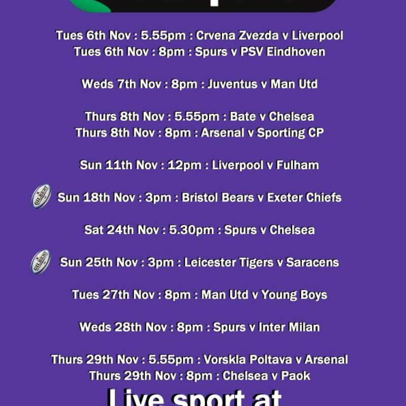 Live BT Sport showing at the Club