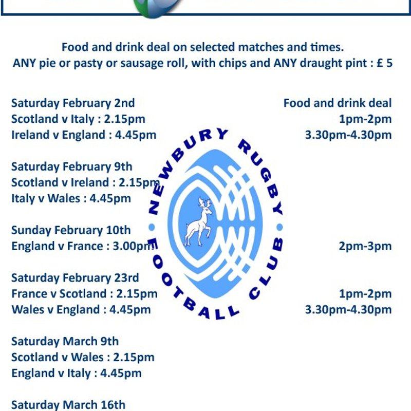 Special Bar meal deal on selected 6-Nations dates