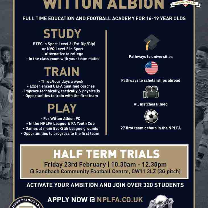 Academy Trials on Friday 23rd February