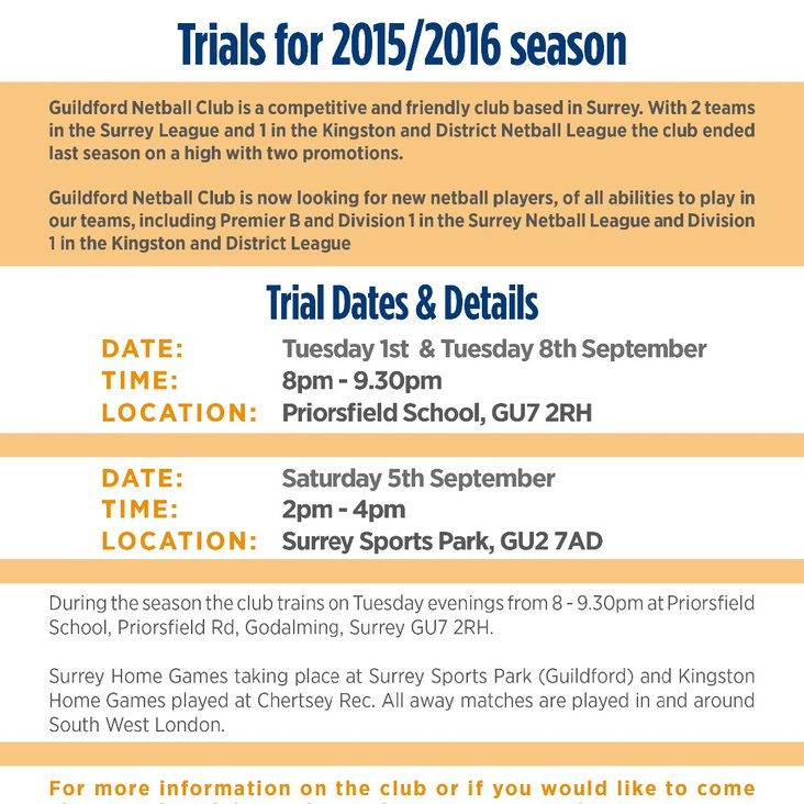 Guildford Netball Club TRIALS 2015/2016 Season<