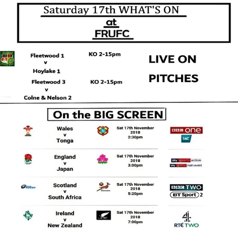 UPDATE RUGBY WHAT'S ON this Saturday 17th Nov.