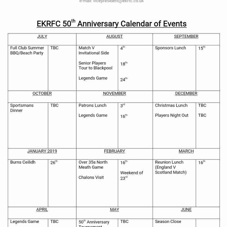 50th Anniversary Calendar of Events