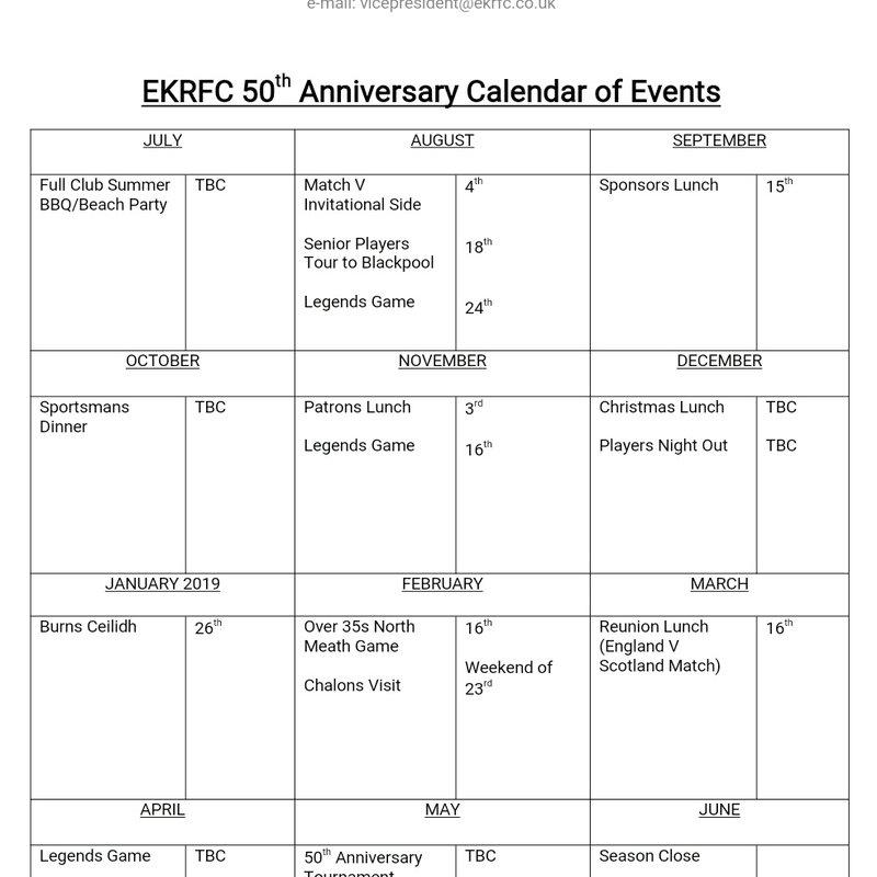 50th Anniversary Calendar of Events
