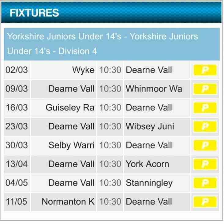 U14s fixtures