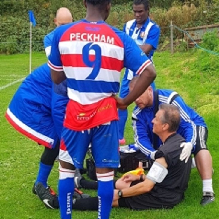 KCL Assistant Referee Sam Hayon Thank PTFC 1st Team First Aiders Paul &amp; Rohann<