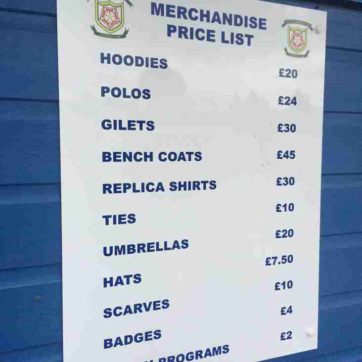 Merchandise available on Tuesday!