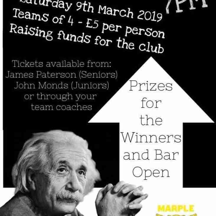 Club Quiz Night Saturday 9th March 2019