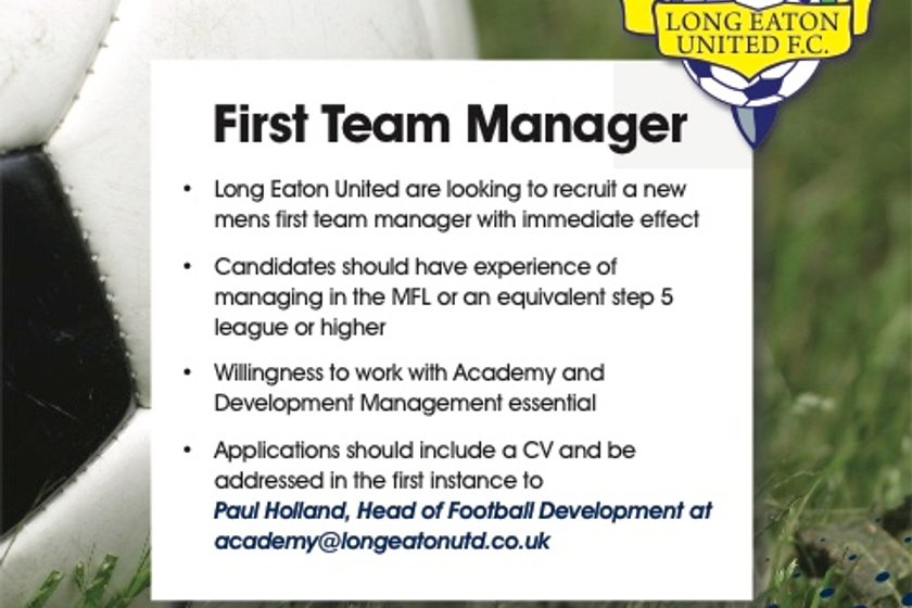 Long Eaton United is looking to recruit a new Men's First Team Manager