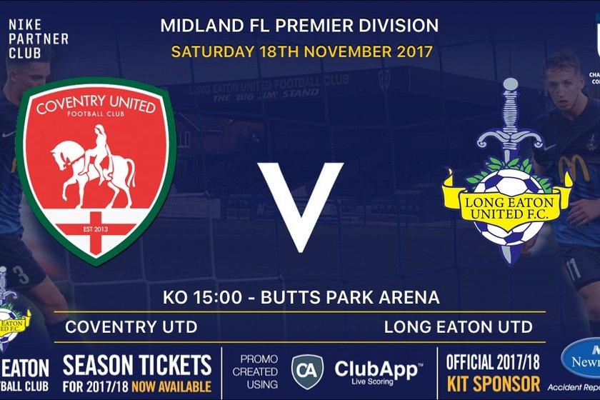 Coventry United v Long Eaton United - Saturday 18th November