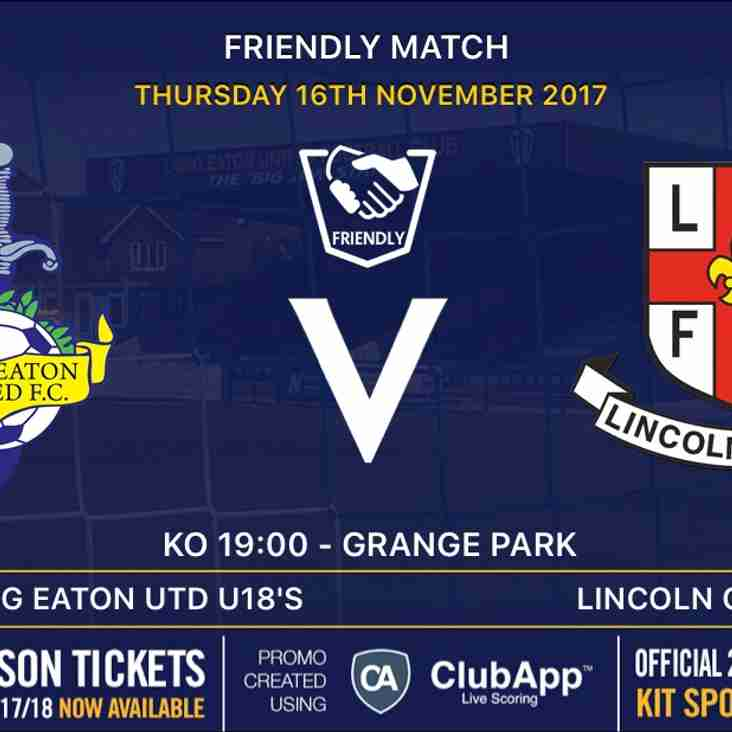 U18's v Lincoln City - Thursday 16th November