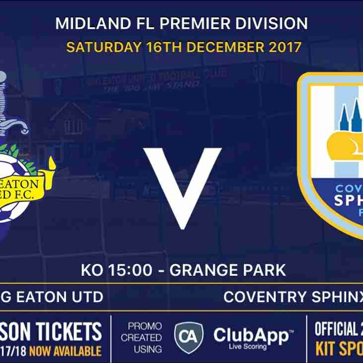 First Team host Coventry Sphinx on Saturday