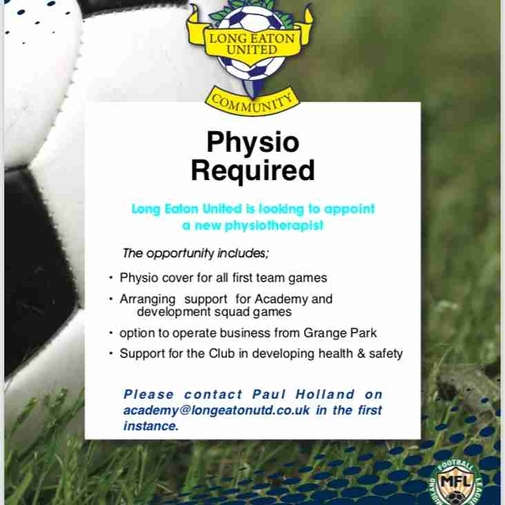 Long Eaton United is looking to appoint a new Physiotherapist