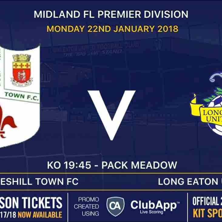 First Team travel away to League leaders on Monday night - kick off 7:45pm