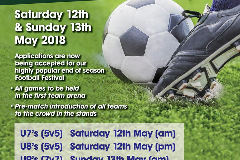 Applications now open for end of season Junior Football Festival - 12/13th May 2018