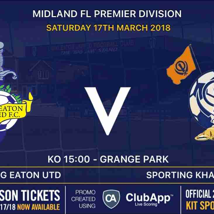 GAME ON - Great game in store at Grange Park today - Saturday 17th March v Sporting Khalsa