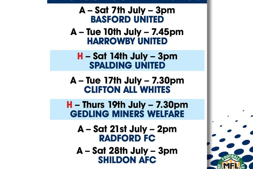 Pre-season Fixtures announced