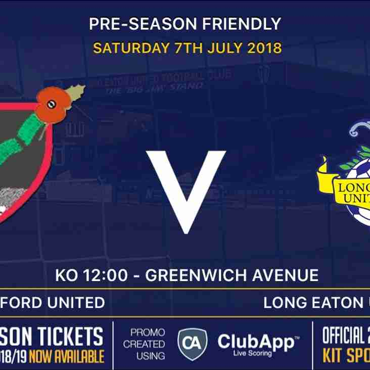 Our First Team's First Pre-Season Friendly - Basford United Away - this Saturday 7th July