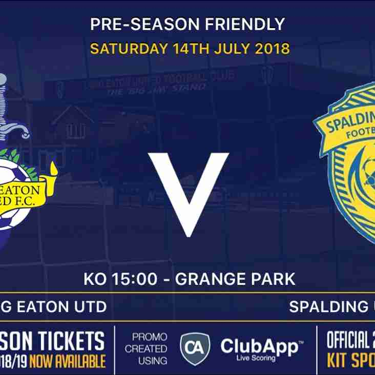 Our first home pre-season Friendly is this Saturday v Spalding United
