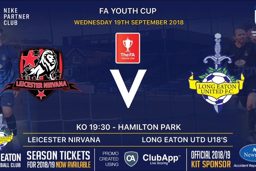 U18's back in FA Youth Cup action on Wednesday away at Leicester Nirvana