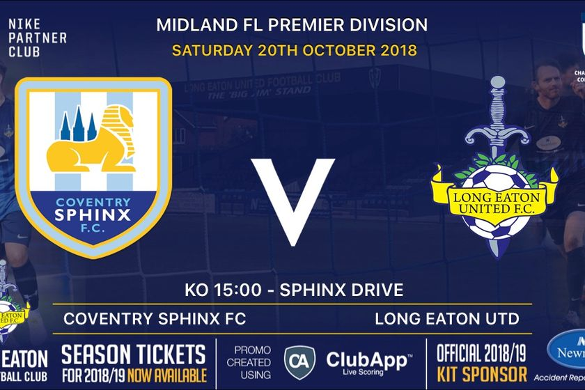 First Team travel to Coventry Sphinx on Saturday 20th October