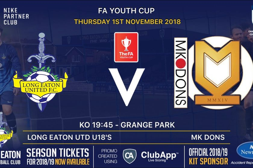 FA Youth Cup Date v Milton Keynes Dons announced - Thursday 1st November
