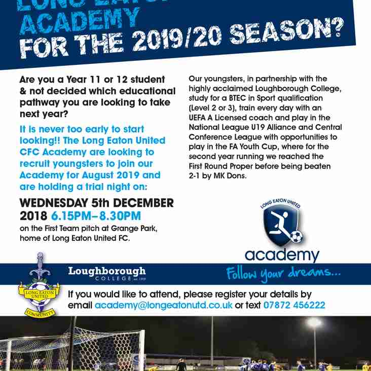Second Academy Trial Date announced - Wednesday 5th December - 6:15pm to 8:30pm
