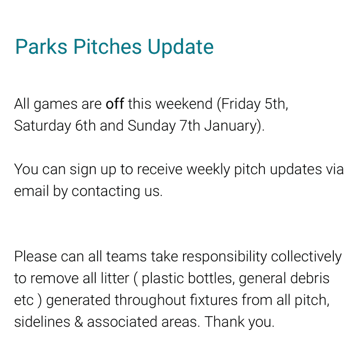 Games OFF this weekend