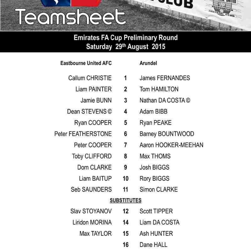 EUAFC vs Arundel - Emirates FA Cup Preliminary Round - Saturday 29th August 2015