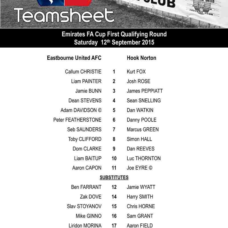 EUAFC vs Hook Norton - Emirates FA Cup First Qualifying Round - Saturday 12th September 2015
