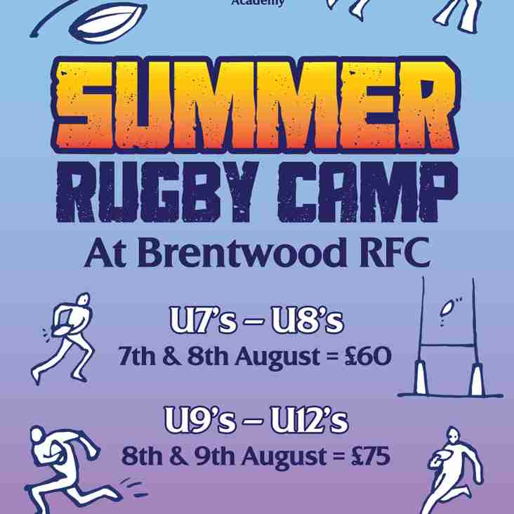 TRY SUMMER RUGBY CAMPS at Brentwood RFC