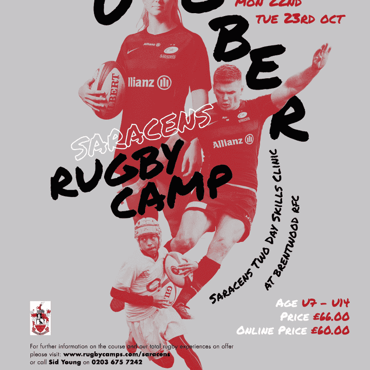 Saracens Rugby Camp at Brentwood RFC  22nd-23rd Oct 2018