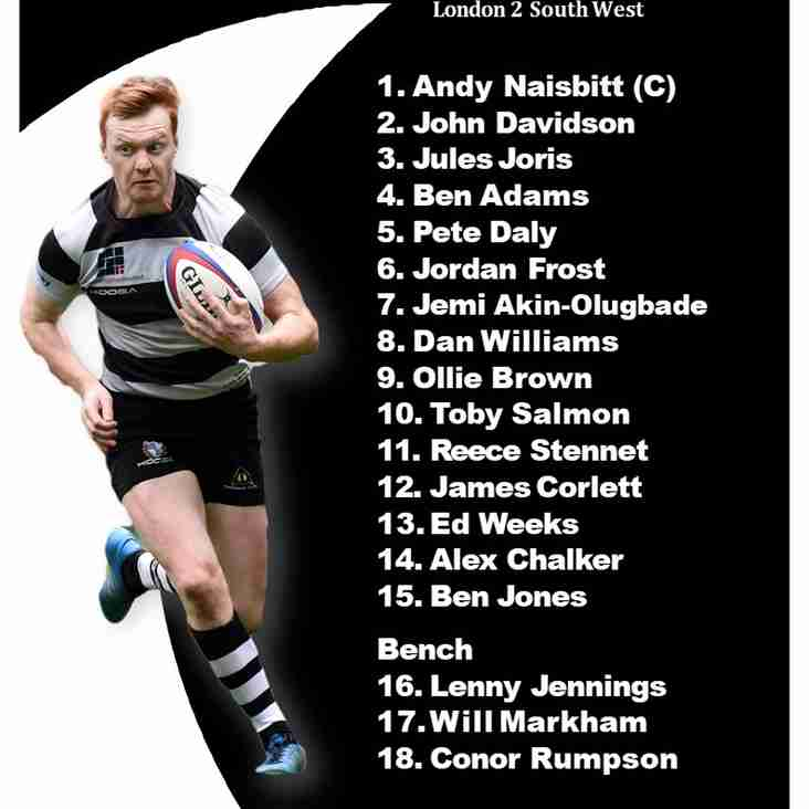 1st XV Team Sheet v Effingham and Leatherhead 7 October