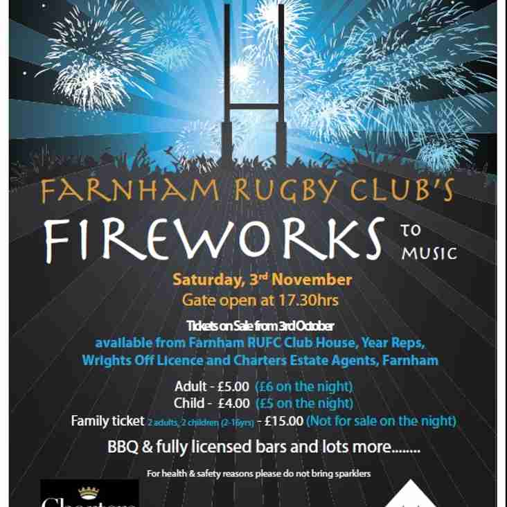 Farnham Rugby's Fabulous Fireworks to Music 3/11/18