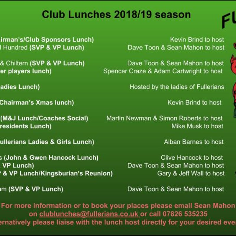 Club Lunches 2018/19