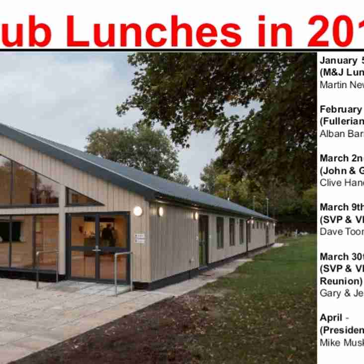 Club Lunches 2019