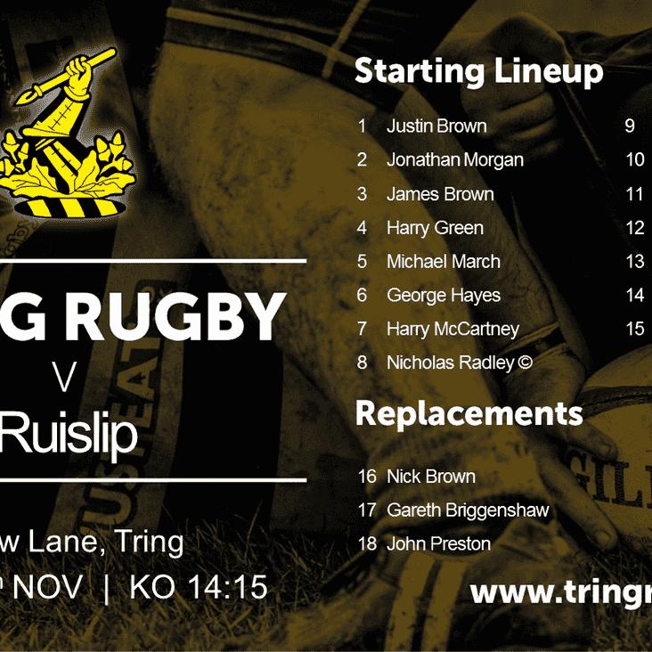 Match day- Saturday 26th November vs @ruisliprfc