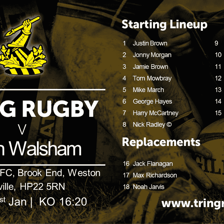 Match day- Saturday 21st January vs @FulleriansRFC Kick-Off 16:30