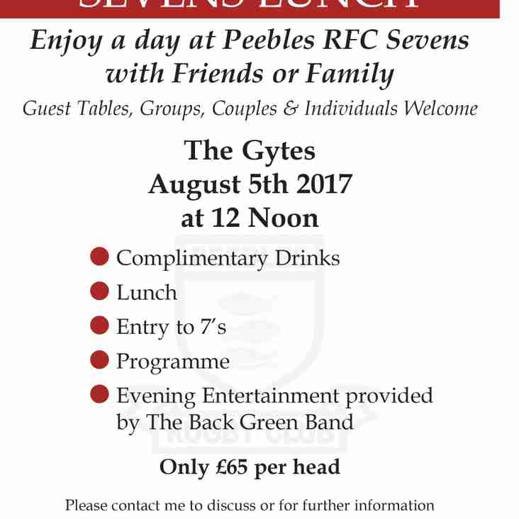 Peebles 7s 2017 Lunch Packages