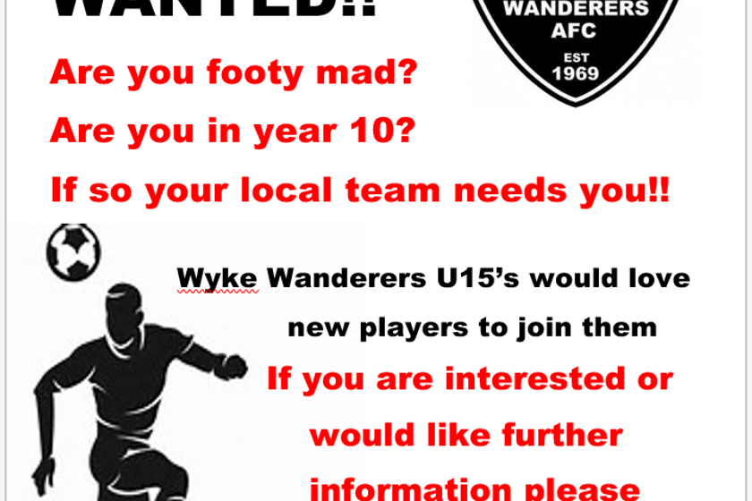 U15's Players Wanted