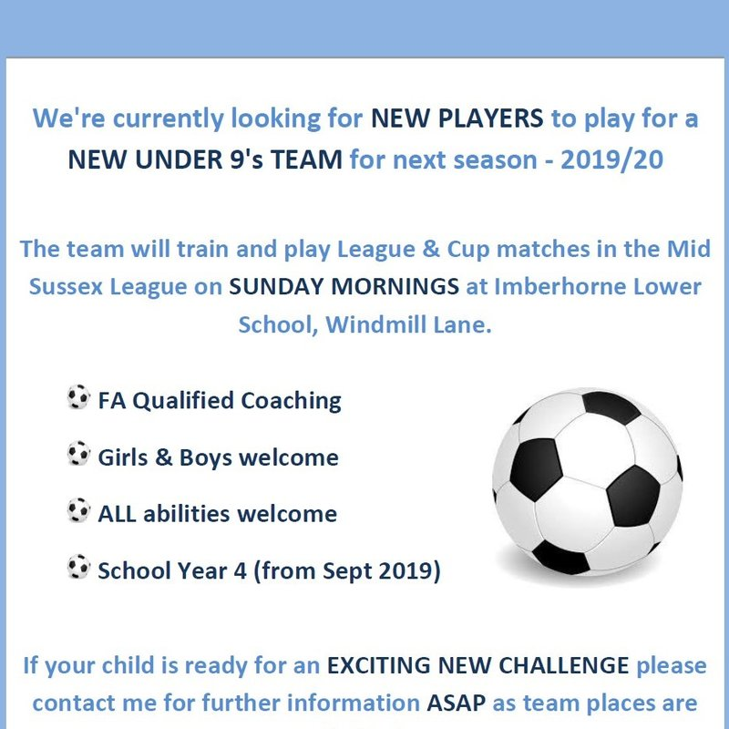 U9 Players Wanted