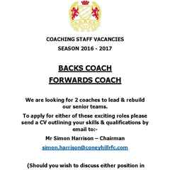 Senior Coaches Required for 2016 - 2017