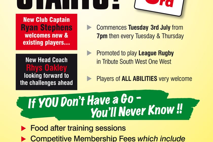 Pre-Season Training Starts Tuesday 3rd July at 7pm