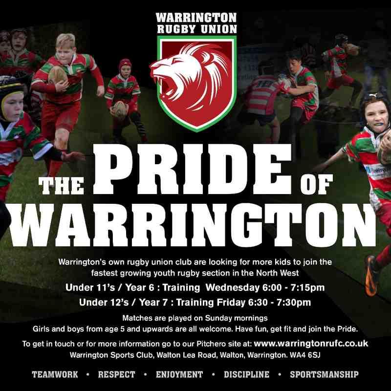 Under 11's & 12's Pride of Warrington schools poster