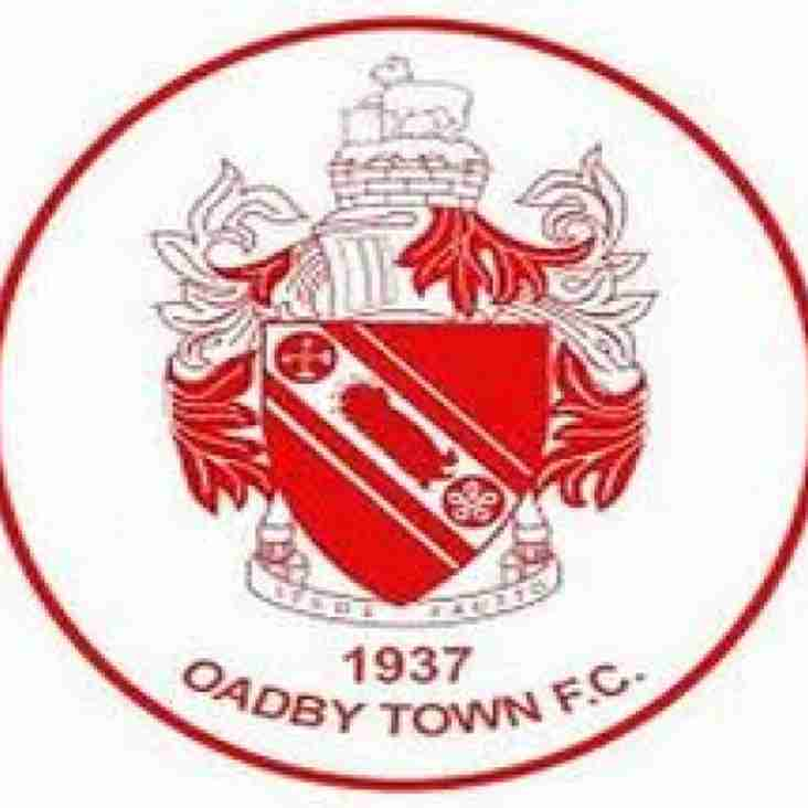 Next Up....Oadby Town (A). 5th November 2016.