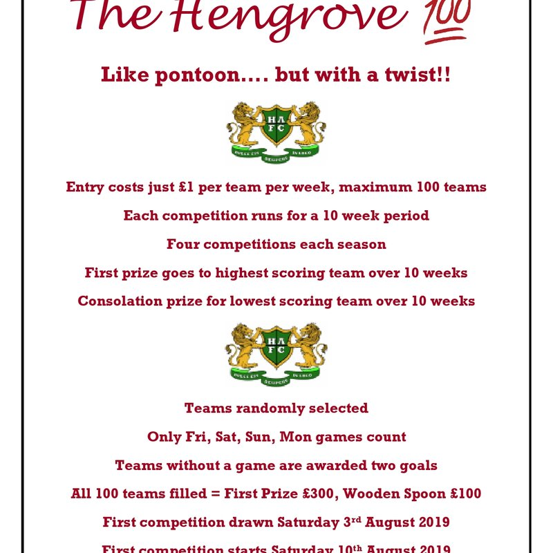 "THE ""HENGROVE 100"" IS HERE!"