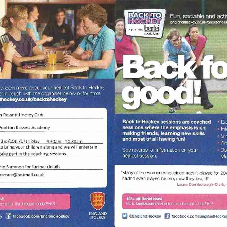 Back to Hockey - Final Session: 9.30am on 17th May